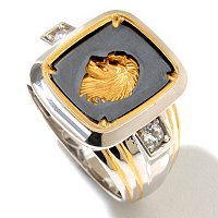 MEN'S - SS/PALL RING BLACK ONYX & SCULPTED METAL LION'S HEAD