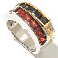 MEN'S - SS/PALL RING PRINCESS-CUT BLACK SPINEL & GEMSTONE BAND