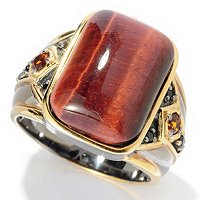 MEN'S - SS/PALL RING TIGER EYE w/ MADEIRA CITRINE & BLK SPINEL