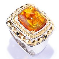 MEN'S - SS/PALL RING BALTIC AMBER & GEM ACCENT