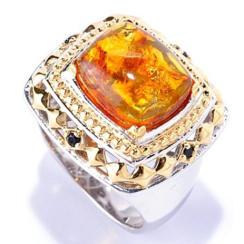 128-655 - Men's en Vogue II 13 x 11mm Baltic Amber & Black Spinel Ring