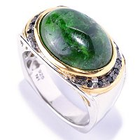 MEN'S - SS/PALL RING OPAQUE CHROME DIOPSIDE & BLACK SPINEL