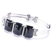 MEN'S - SS/PALL BRAC 3-STONE CUSHION FACETED BLACK AGATE