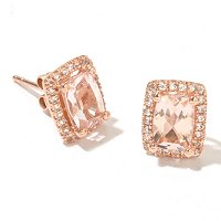 14K CHOICE MORGANITE AND WHITE TOPAZ CUSHION CUT EARRINGS