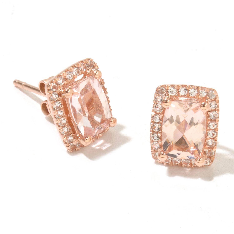 shophq gem treasures cushion cut morganite earrings