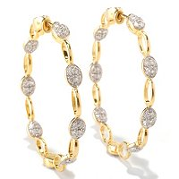 SB SS/CHOICE ROUND CUT OVAL PAVE AND LINK HOOP EARRINGS