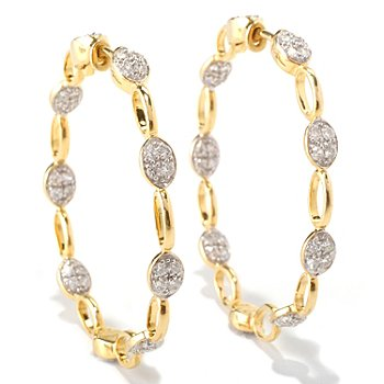 128-664 - Sonia Bitton for Brilliante® 2.04 DEW Round Cut Bead Set Oval Shaped Link Hoop Earrings