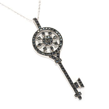 128-666 - NYC II Black Spinel Pave Key Pendant w/ 18'' Chain