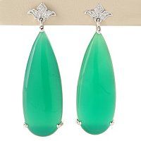 SS/PLAT EAR GREEN ONYX SLICE TEARDROP w/ WHITE ZIRCON