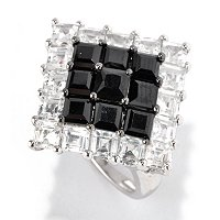 SS/PLAT RING PRINCESS-CUT BLACK SPINEL & WHT ZIRCON DIAMOND-SHAPE