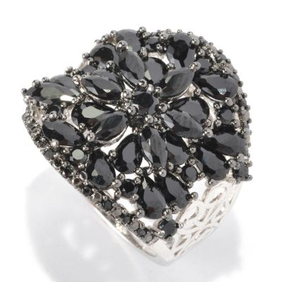 128-671 - NYC II Black Spinel Floral Scrollwork Wide Band Ring