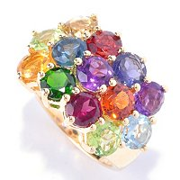 SS/P RING MULTI GEMSTONE
