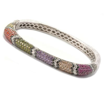 128-676 - Neda Behnam Platinum Embraced™ Simulated Diamond Multi Color Snake Print Bracelet