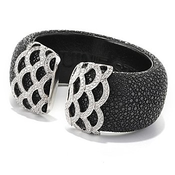 128-677 - Neda Behnam for Brilliante® Platinum Embraced™ 4.18 DEW Stingray Cuff Bracelet