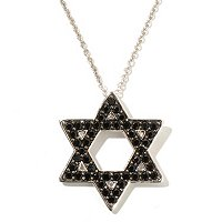 SS BLACK SPINEL STAR OF DAVID PENDANT