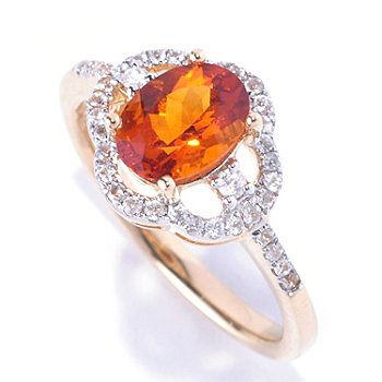 128-682 - Gem Treasures 14K Gold 1.40ctw Oval Madeira Citrine & White Zircon Ring