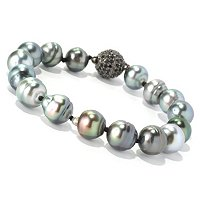 "SS 8"" 10mm CIRCLE TAHITAN & BLACK SPINEL BEAD CLASP BRACELET"