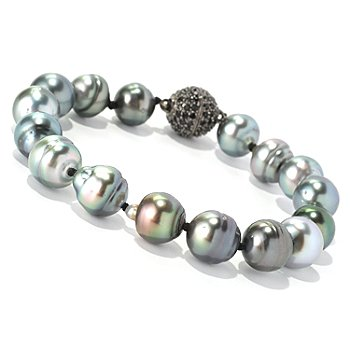128-685 - Sterling Silver 8'' 10mm Peacock Tahitian Cultured Pearl & Black Spinel Bracelet