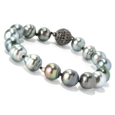 "128-685 - Sterling Silver 8"" 10mm Peacock Tahitian Cultured Pearl & Black Spinel Bracelet"