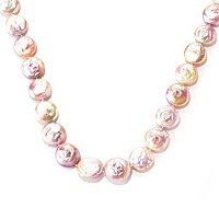 "SS 33"" 19-20mm ROUND NATURAL COLOR COIN FWP NECKLACE"