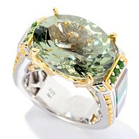 SS/PALL RING PRASIOLITE w/ CHROME DIOP & GEM INLAY