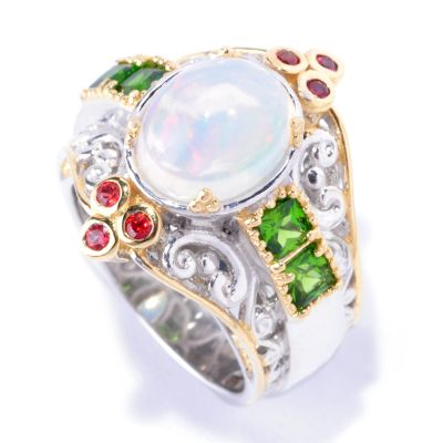 128-696 - Gems en Vogue II 2.58ctw Opal, Chrome Diopside & Orange Sapphire Ring