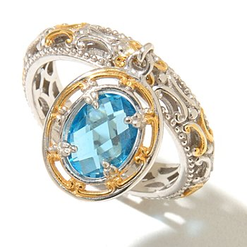 128-712 - Gems en Vogue II 1.22ctw Swiss Blue Topaz Charm Band Ring