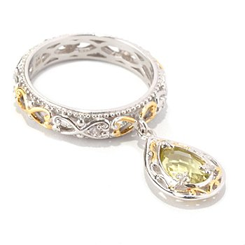 128-714 - Gems en Vogue II Pear Shaped Ouro Verde & White Sapphire Charm Band Ring
