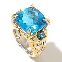 SS/PALL RING PRINCESS-CUT CEYLON BLUE TOPAZ