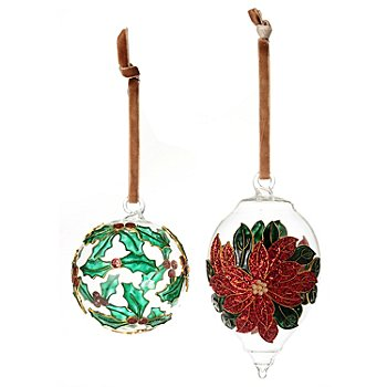 128-718 - Set of Two Cloisonne-Style Enamel Hand Painted Glass Ball Ornaments