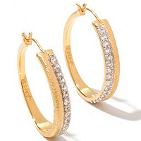 SS/18KV EAR BRUSHED GEMSTONE HOOPS