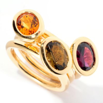 128-754 - Michelle Albala Set of Three 3.01ctw Multi Gemstone Stack Band Rings