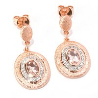 SS/18K ROSE VERMEIL MORGANITE & WHT SAPH DROP