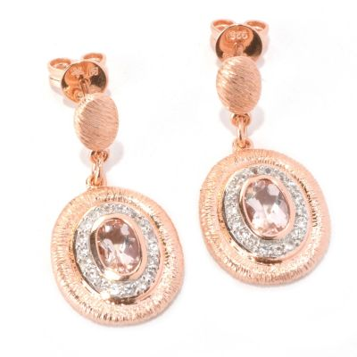 128-756 - Michelle Albala Morganite & White Sapphire Polished & Brushed Drop Earrings