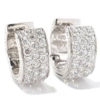 128-757 - Sonia Bitton for Brilliante® 3.02 DEW Round Cut Pave Set Huggie Hoop Earrings