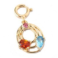 SS/P CHARM MULTI GEMSTONE TIERED OVAL