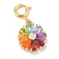 SS/P CHARM EXOTIC RAINBOW FLOWER DROP