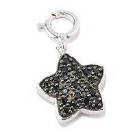 SS/P CHARM BLACK SPINEL & WHT ZIRCON DOUBLE SIDED STAR
