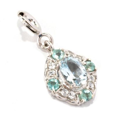 128-771 - NYC II Aquamarine, Apatite & White Zircon Drop Charm