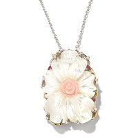 "SS/PALL/18KGP PEND HAND-CARVED MOTHER OF PEARL ENHANCER w/ 18"" CHAIN PINK SAPH"