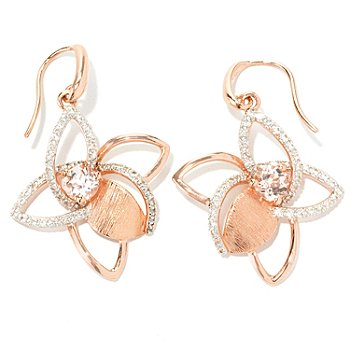 128-783 - Michelle Albala 1.77ctw Morganite & White Sapphire Flower Earrings