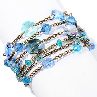 RIPPLE OF CRYSTAL BLUE MULTI ROW BRACELET