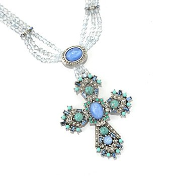 128-788 - Sweet Romance™ ''British Regalia'' Beaded Cross Necklace