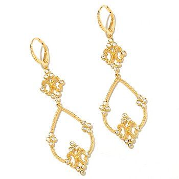 128-798 - Jordan Scott White Sapphire Double Drop ''Regia Mulieris'' Earrings