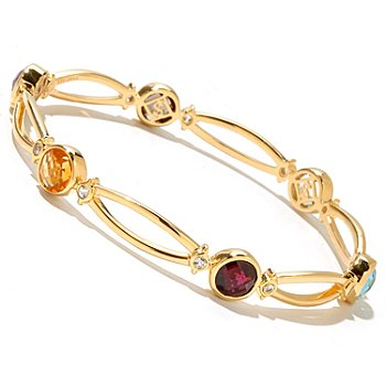 128-805 - Jordan Scott 10.26ctw Multi Gemstone & White Sapphire Bangle Bracelet