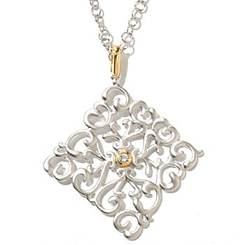 128-809 - Jordan Scott White Sapphire Satin Finished Diamond Shaped Pendant w/ Chain
