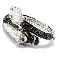 SS BLACK SPINEL HORSE BANGLE W/ WHITE TOPAZ
