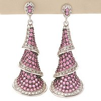 SS PINK SPINEL LAYER CONE EARRING W/ WHITE TOPAZ