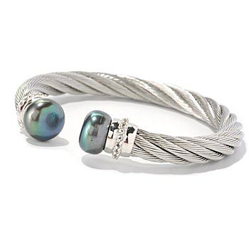 128-814 - Stainless Steel 7'' 12-13mm Freshwater Cultured Pearl & Topaz Bracelet