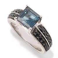 SS PRINC CUT LONDON BLUE TOPAZ WITH BLK SPINEL ACCENT RING